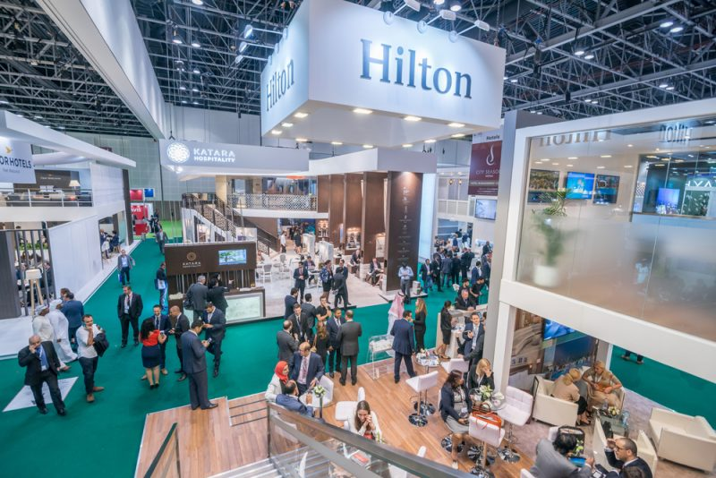 Arabian Travel Market 2016 exhibition in Dubai World Trade center on April 27, 2016 in Dubai, UAE. Arabian Travel Market is international travel and tourism event in the Middle East